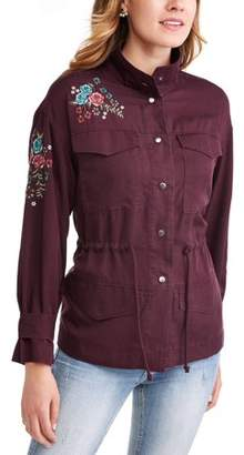 Time and Tru Women's Embroidered Utility Jacket