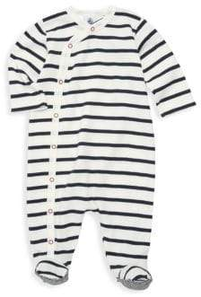 Petit Bateau Baby Boy's Biarritz Striped Footie - Navy White - Size 6 Months