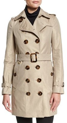 Burberry London Slim-Fit Double-Breasted Metallic Trench Coat, Nude Gold $2,195 thestylecure.com