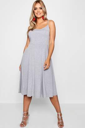 678e7a92c76455 boohoo Plus Jersey Basic Midi Skater Dress