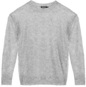 DKNY Open-Knit Metallic Mohair-Blend Top