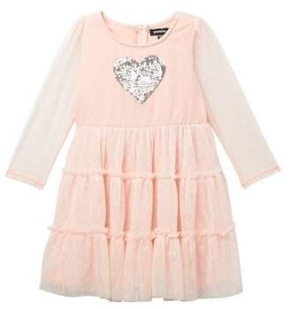 Zunie Long Sleeve Swiss Dot Mesh Dress (Toddler Girls)