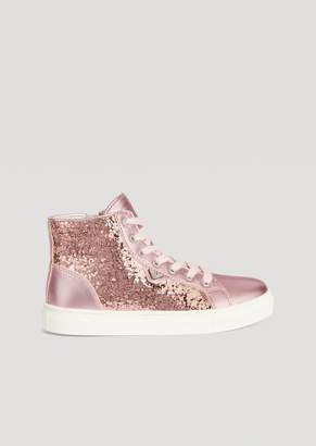 Emporio Armani Satin And Glitter Sneakers