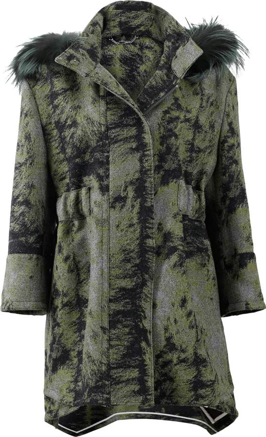 FENDI Fur Trim Hooded Illusion Coat