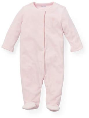 Ralph Lauren Solid Picot-Trim Footie Pajamas, Size 3-9 Months
