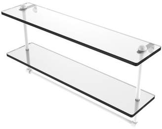 Allied Brass 22 Inch Two Tiered Glass Shelf with Integrated Towel Bar
