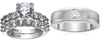 Swarovski Platinum Plated Sterling Silver Zirconia Round Cut His & Hers Wedding Ring Set