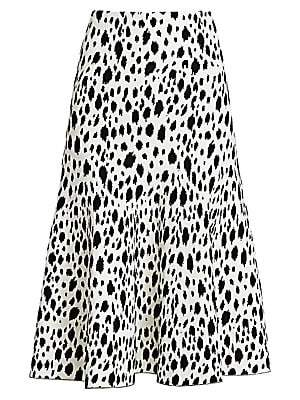 St. John Women's Snow Leopard Jacquard Knit Midi Skirt