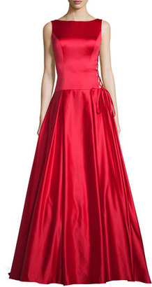 Jovani Sleeveless Pleated Satin Ball Gown, Red $560 thestylecure.com
