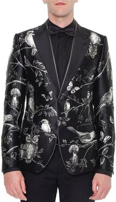 Dolce & Gabbana Forest-Print Silk Evening Jacket, Black/White $4,745 thestylecure.com