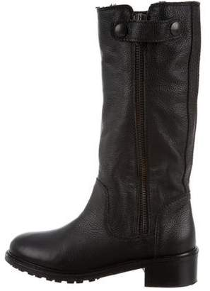 Vince Round-Toe Leather Mid-Calf Boots