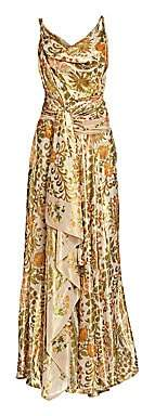 Oscar de la Renta Women's Metallic Printed Draped Gown