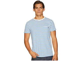Scotch & Soda Ams Blauw Single Pocket Regular Fit Colored Striped T-Shirt