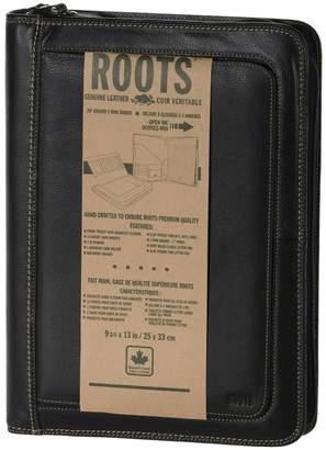 Roots Padfolio Zipper Round Leather Portfolio