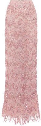 Naeem Khan Embellished Sequined Tulle Maxi Skirt - Pink