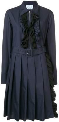 Prada ruffled midi belted dress