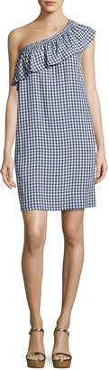 Velvet Virgie Gingham One-Shoulder Shift Dress, Navy Blue/White
