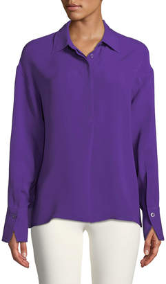 Silk Crepe Long-Sleeve Tunic Top