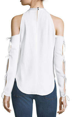 Contemporary Designer Lachland Cold-Shoulder Collar Cutout Blouse
