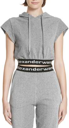 Alexander Wang alexanderwang.t Logo Stripe Crop Corduroy Top