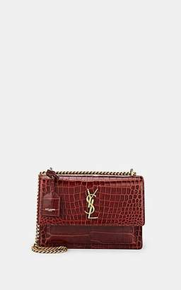 Saint Laurent Women's Monogram Sunset Crocodile-Stamped Leather Satchel - Red