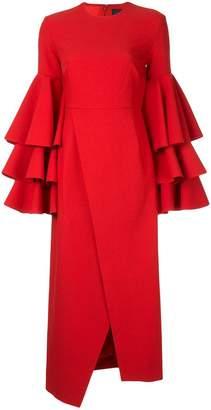 SOLACE London ruffled sleeves dress