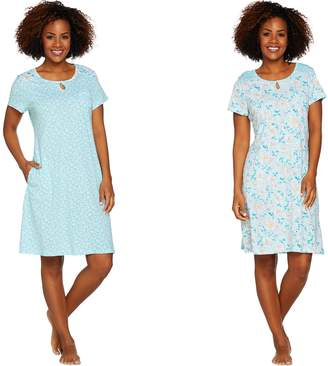 Carole Hochman Daisy & Ditsy Twin Print Cotton 2-Pc Sleepshirt Set