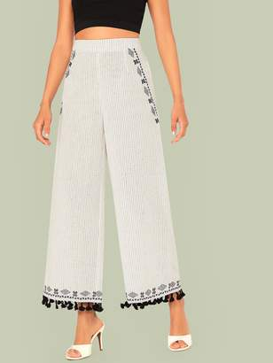 Shein Tassel Hem Tribal and Striped Print Wide Leg Pants