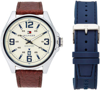 Tommy Hilfiger 1791207 Silver-Tone Ryan Watch & Interchangeable Strap Set
