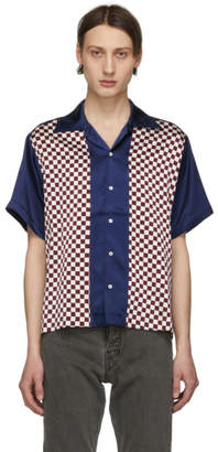 Enfants Riches Deprimes Blue and Burgundy Check Silk Block Shirt