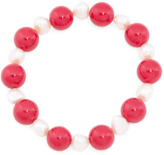 233386a8a 12mm Coral And Pearl Stretch Bracelet