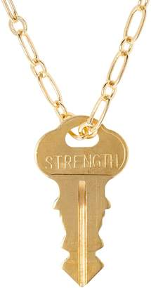 "The Giving Keys Goldtone 'STRENGTH' Key Pendant w/ 30"" Dainty Chain"
