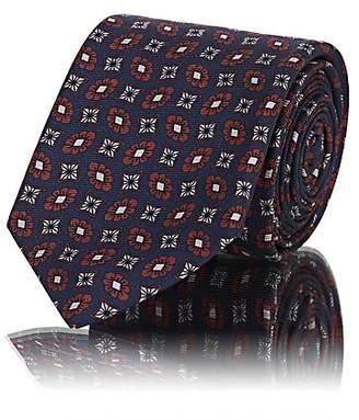 Sartorio Men's Medallion-Print Silk Faille Necktie - Navy