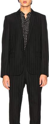 Saint Laurent Striped Long Blazer