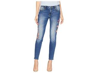 Miss Me Embroidered Mid-Rise Skinny Jeans in Medium Blue