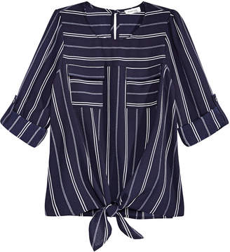 b897995b36ad7 Monteau Big Girls Striped Tie-Front Hacci Top
