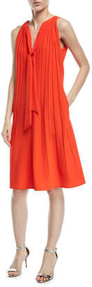 Escada Sleeveless Tie-Neck A-Line Plisse Crepe Dress
