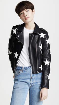 Blank Star Print Vegan Moto Jacket