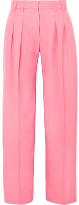 Victoria Beckham Victoria, Pleated Wool-twill Wide-leg Pants - Pink