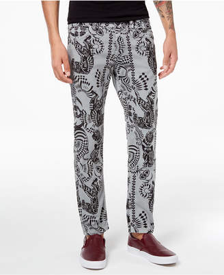 Versace Men's Classic-Fit Stretch Tiger-Print Jeans