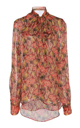 Oscar de la Renta Full Sleeved Floral Printed Blouse