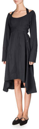 Proenza Schouler Long-Sleeve Faux-Wrap Harness Dress, Black