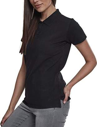 Urban Classic Women's Ladies Wash Polo Tee Shirt, (Black 00007), XXL