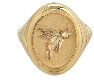 Retrouvaí Grandfather Flying Pig Signet Ring