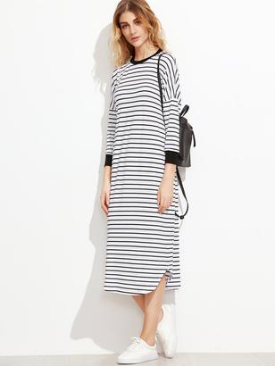 Shein Striped Contrast Trim Drop Shoulder Tee Dress