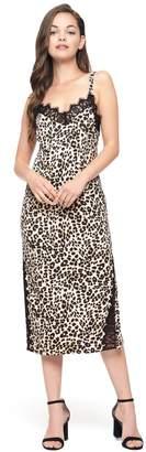Juicy Couture Leopard Duchess Satin Slip Dress