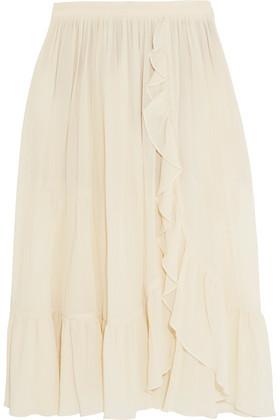 Michael Kors Collection Ruffled Crinkled-Cotton Skirt