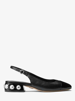 Michael Kors Raine Studded Leather Sling-Back Flat
