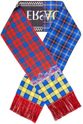 Versace multi-coloured check logo silk scarf