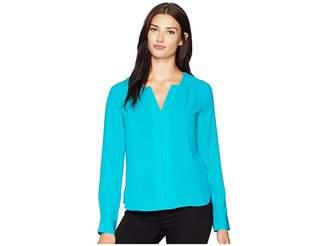 Calvin Klein Long Sleeve Woven Pullover Top Women's Clothing